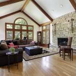 rustic living room with hardwood floor