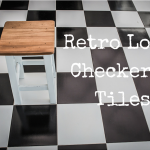 checkered tiles with a stool