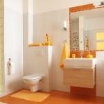 orange bathroom floor