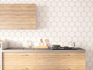 Geometric tile backsplash trend
