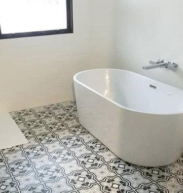 funky patterned bathroom tile flooring