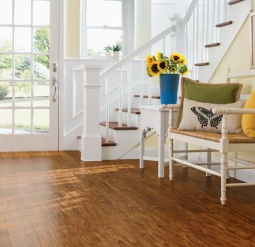 Luxury Vinyl Flooring in oak hardwood look in a front entryway