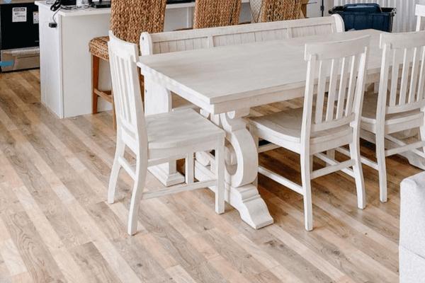 laminate flooring under a dining room table
