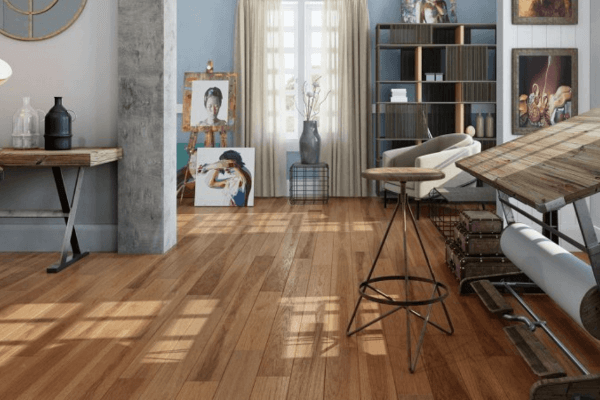 Engineered hardwood flooring in a living space.