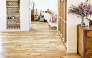 hallway with bookcase showing trending light brown wood coloured flooring
