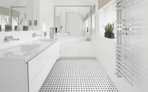white bathroom with black and white floor tile for a top colour trend this year