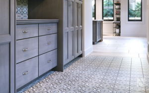 mosaic tiles on the floor in a bathroom hallway by a dresser. a top trending floor colour and desgin for 2021